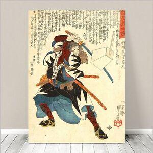 Traditional Japanese Samurai Warrior Art Canvas Print 18x12 Kuniyoshi 226 Ebay