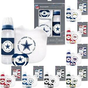 NFL-Football-Baby-Gift-Set-Collection-Bib-Pacifier-amp-Bottle-Pick-Your-Team