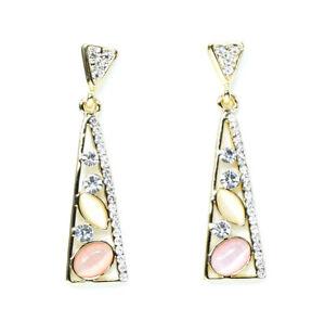 Zara Jewellery Triangle Crystal Gemstone Statement Gold Plated Drop Earrings