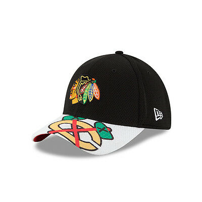 3ed2406cc4595 Chicago Blackhawks New Era 39THIRTY Logo Twist Flex Fit Hat NHL Baseball Cap