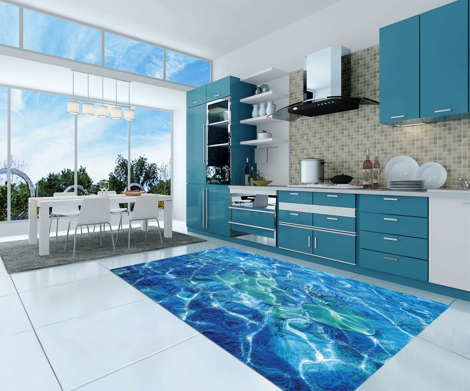 3D Water Ripples Kitchen Mat Floor Murals Wall Print Wall Deco AJ WALLPAPER AU