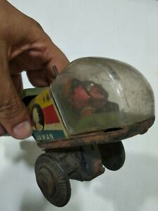 ANTIQUE-VINTAGE-TIN-TOY-rare-OLD-India-Jai-Hind-Jawan-Helicopter-WIND-UP