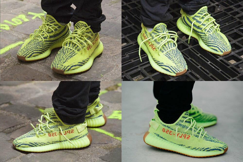 Men 8.5 Adidas Yeezy Boost 350 V2 Green Yellow Semi Frozen B37572 Authentic