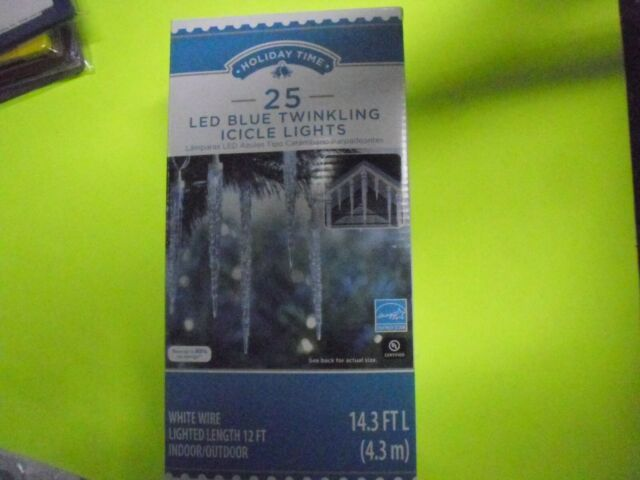 New 25pk Holiday Time Led Blue Twinkling Icicle Lights White Wire 14 3 Ft L