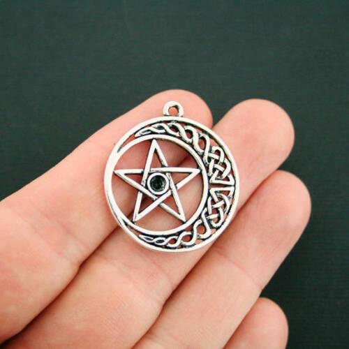 4 Celtic Knot Pentagram Charms Antique Silver Tone SC7085