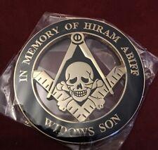 "Masonic SKULL In Memory of Hiram Abiff Widows Son 3/"" Alloy Cut-Out Car Emblem GB"