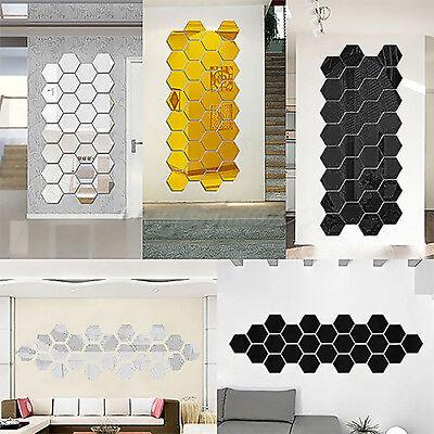 10Pcs 3D Mirror Hexagon Geometric Wall Removable Sticker Decal Vinyl Home Decor