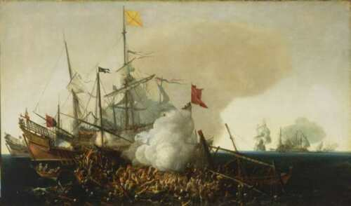 Barbary Corsair Pirates Engaged by Spanish Men of War 1615 Vroom 7x4 inch Print