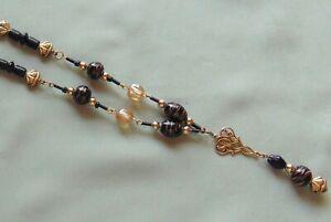 Vintage-Black-Art-Glass-Foil-Bead-amp-Beige-Glass-Bead-Pendant-Tassel-Necklace
