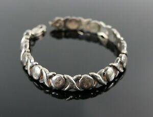 100% Vrai Vintage .925 Sterling Silver Xoxo Sweetheart Eternal Love Tennis Bracelet 13.7 G-afficher Le Titre D'origine Style à La Mode;