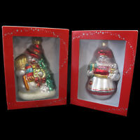 Snowman & Mrs Santa Glass Christmas Ornaments Macys Holiday Lane In Box Two