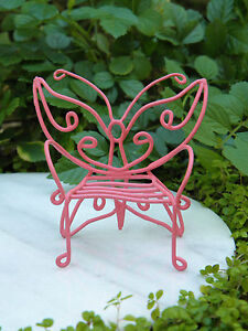 Image Is Loading Miniature Dollhouse FAIRY GARDEN Furniture Pink Metal  Butterfly