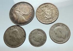 GROUP-LOT-of-5-Old-SILVER-Europe-or-Other-WORLD-Coins-for-your-COLLECTION-i75486