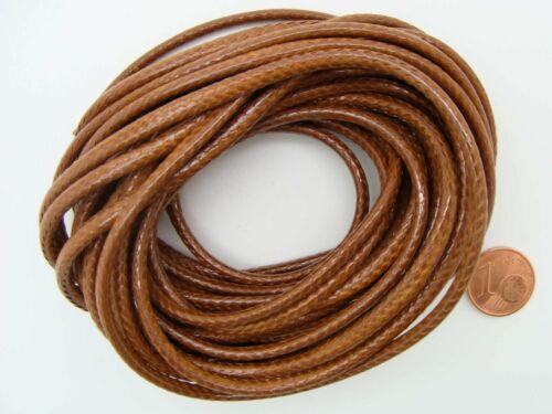 5 mètres fil polyester ciré 3mm cordon lacet Noir Blanc Marron Beige au choix