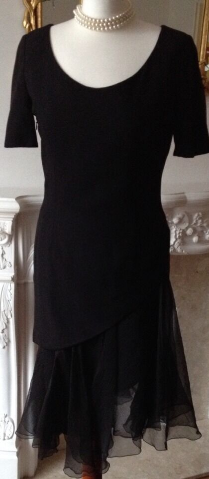 Authentic Christian Dior Abito Vintage Nero Ensemble top gonna FR36 UK8 Fab