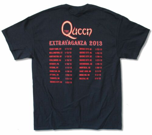 QUEEN EXTRAVAGANZA TOUR 2013 NAVY BLUE T-SHIRT NEW OFFICIAL BAND ADULT T-H