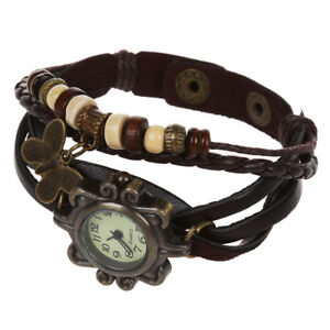 Coffee-Vintage-Women-039-s-Ladies-Weave-Wrap-Leather-Bracelet-Quartz-Watch-K4D7-B0D8