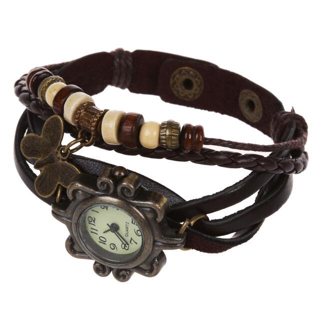 Coffee Vintage Women's Ladies Weave Wrap Leather Bracelet Quartz Watch K4D7 B0D8