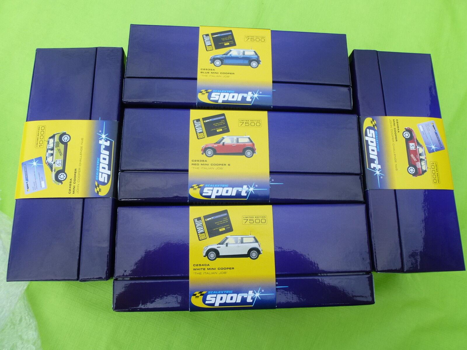Scalextric NEW 1 32  x5 Mini Ltd Edition Cars C2538A C2539A C2540A C2484A C2485A