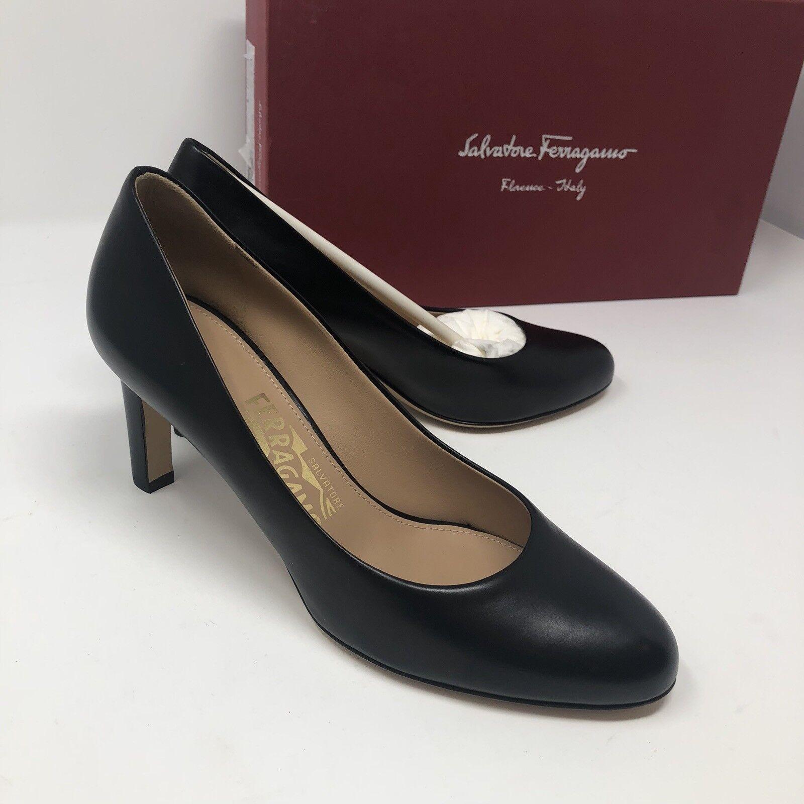 600 New Salvatore Ferragamo Womens Black Heels Ladies shoes Size 5.5 C US