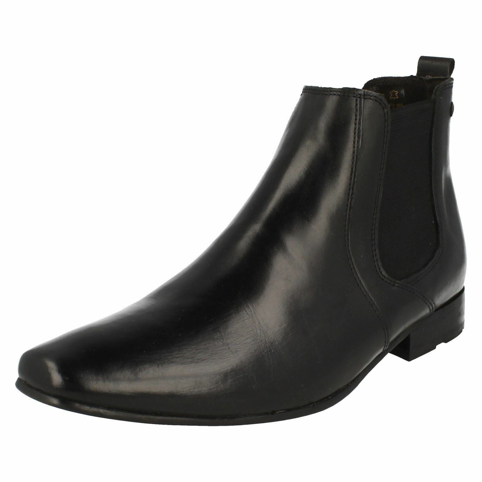 Mens Base London Smart Squarot Toe Slip On Leather Heeled Stiefel Arthur