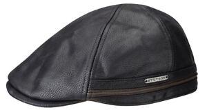 ac65dc99915 Stetson Leather Flat Cap Cap Hat Cap Redding Cow Leather 16 Black ...
