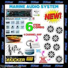KENWOOD MARINE BOAT BT USB AUX MP3 RADIO + 8 X KICKER MARINE SPEAKERS + 400W AMP