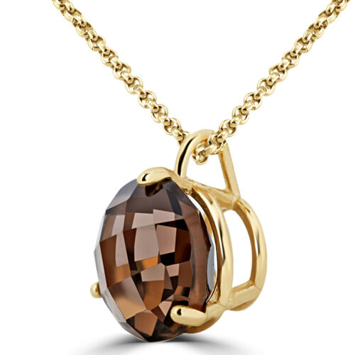 Details about  /1.4 CT BROWN ROUND TOPAZ SOLITAIRE PENDANT NECKLACE 10K YELLOW GOLD