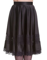 PLUS SIZE BLACK SATIN VINTAGE LACE INSERT FULL SKIRT GOTHIC VICTORIAN HELL BUNNY