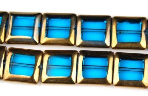 20 Aqua Gold Square Tablette GALVANISE Craft Spacer loose perles de verre 15 mm