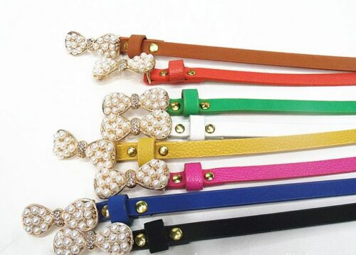 Big Heart Pearl Bowknot  Multicolor Waistband PU Leather Thin Skinny Belt Womens