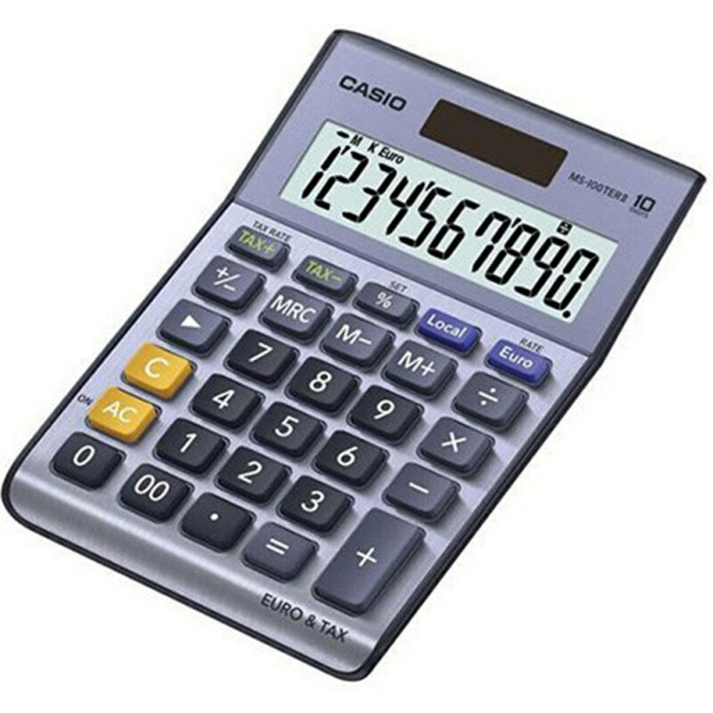 Casio MS100 Desk Calculator Solar Powered Currency Converter & VAT Large Display 2