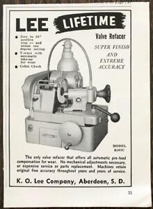 1961 KO Lee Company Aberdeen SD Print Ad Lee Lifetime Valve Refacer