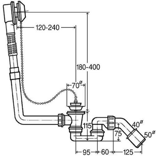 Viega Citaplex Ablaufgarnitur Badewanne mit//ohne Geruchsverschluss Sifon Siphon