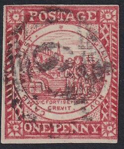 NSW-1850-1d-vermilion-Sydney-Views-on-Laid-Paper-Lovely-impression