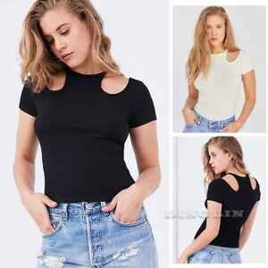 Fashion-Women-Tops-Short-Sleeve-Kintted-Slim-T-shirt-Ladies-Blouse-Top-Shirt-CHK