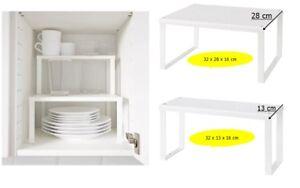 Dettagli su Ikea Variera Mensola Inserto, Bianco Credenza Cucina Organiser  Stand, Impilabile