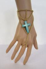 New Women Gold Metal Hand Chain Slave Ring Fashion Bracelet Turquoise Blue Cross