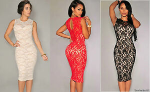 New-Ladies-Women-Towie-Evening-Cocktail-Party-Lace-Floral-Red-Dress-Size-10-12
