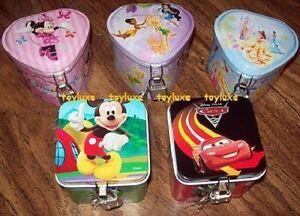 Disney-Collectors-Tin-Box-w-LOCK-amp-KEY-Princess-Fairies-Minnie-Mickey-Cars-NEW