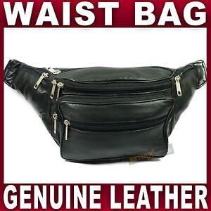 Black-LEATHER-WAIST-BAG-large-bum-bag-fanny-pack-money-belt-belly-travel-genuine