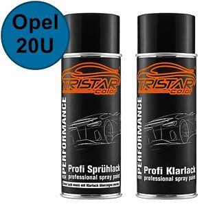 Autolack-Spraydosen-Set-Opel-20U-Arubablau-Aruba-Blue-Basislack-Klarlack