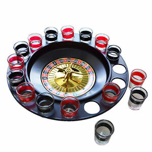 CASINO SPIN N SHOT ROULETTE WHEEL DRINKING PARTY SHOT GLASSES WITH GAME SET BNIB