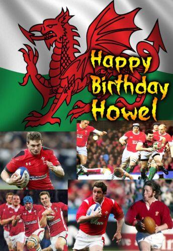 Wales Welsh Rugby cymru Six 6 Nations Happy Birthday PERSONALISED ART Card hwyl