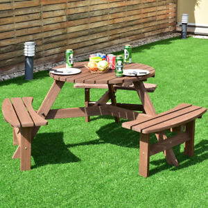 Details About 6 Seat Patio Garden Dining Furniture Wooden Picnic Table Kit Backyard Clearance