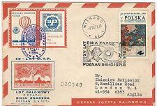 "Poland: Cover to england by balon ""Expres poczta Balonowa"" special post ... PO14"