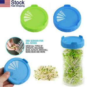 US-2Pcs-Plastic-Sprouting-Strainer-Lids-Covers-Caps-for-Wide-Mouth-Mason-Jars-HQ