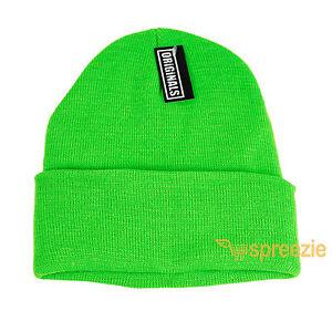 4772f0d5c58 Neon Green Beanie Plain Knit Ski Hat Skull Cap Cuff Warm Winter ...