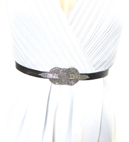 Charcoal Black Dark Silver Beaded Belt 1920s Flapper Dress Great Gatsby Vtg 1025