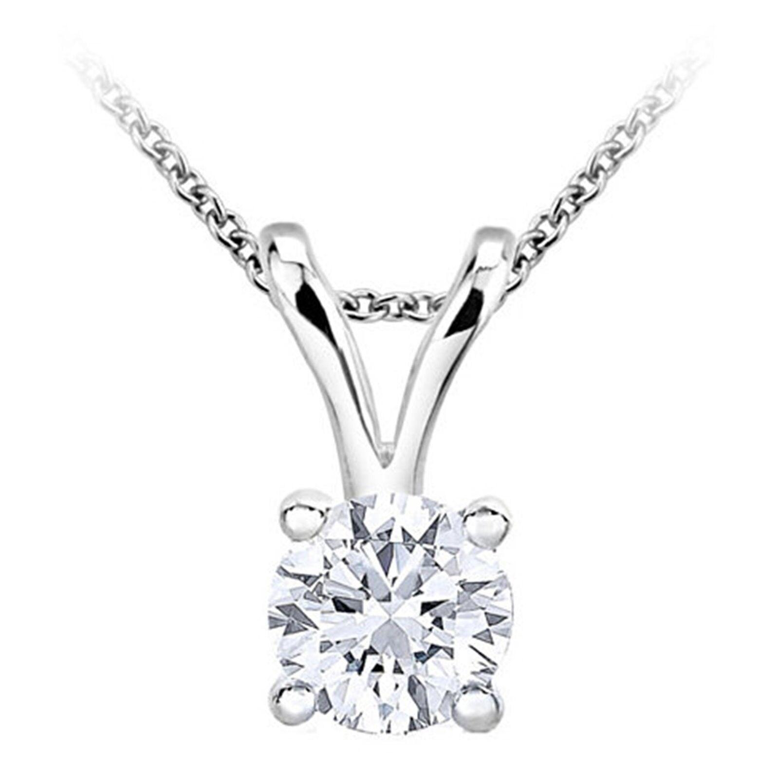 Round Solitaire Diamond Pendant Plus White gold(0.08ct, HIJ color, I3 clarity)